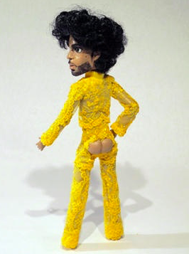 Troy Gua's Le Petit Prince in Stacia Lang designed canary yellow lace jumpsuit worn during MTV VMAs, 1991.