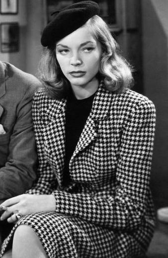Lauren Bacall wearing Leah Rhode's designed houndstooth suit in The Big Sleep, 1946.